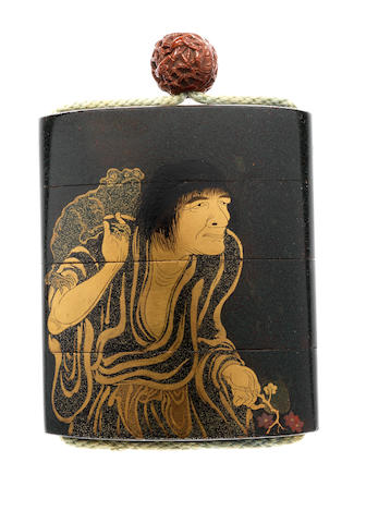 A black lacquer three-case inro By Yamada Jokasai, 19th century