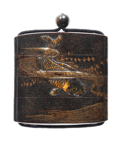 A black lacquer three-case inro By Tomoyoshi/Chogi, 19th century
