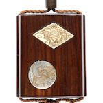 A single case wood inro with interior compartments and compass with ivory and MOP inlay decoration