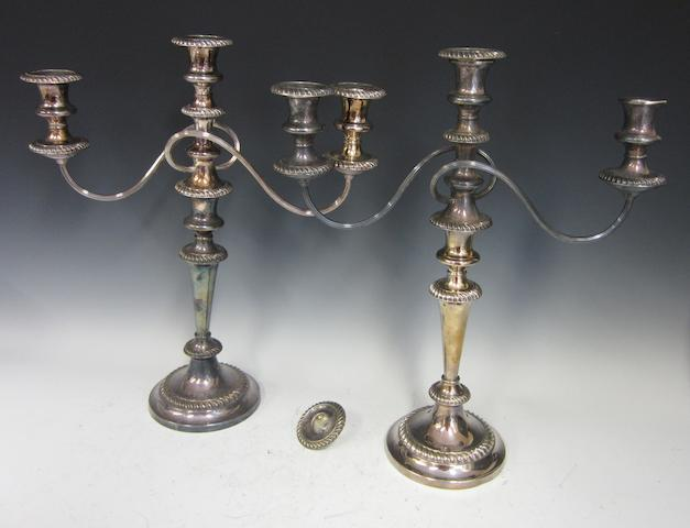 A pair of electroplate two branch, three light candelabra by Walker and Hall,  (2)