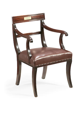 A Regency mahogany open armchair
