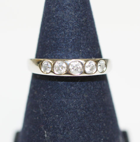 An 18ct white gold diamond five stone ring,