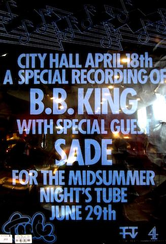 An autographed B.B. King concert poster,  1980s,