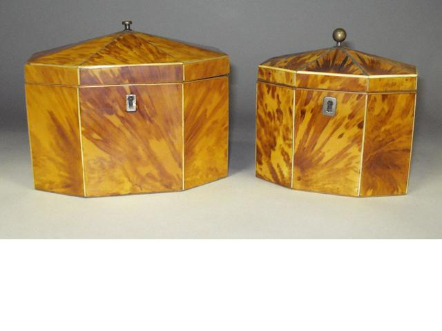 Two George III tortoiseshell caddies.