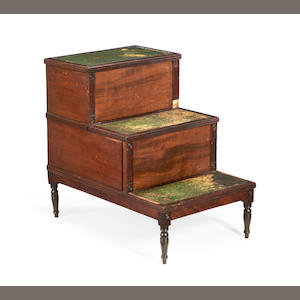A set of Regency mahogany library steps