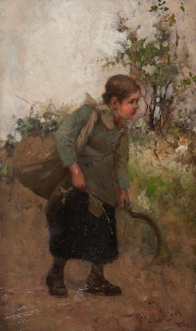 Robert McGregor, RSA (British, 1847-1922) Gathering Holly 24.5 x 14.5 cm. (9 5/8 x 5 11/16 in.)