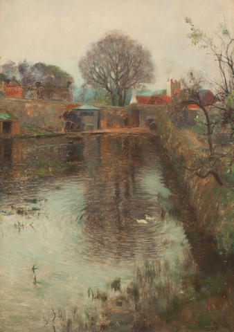 Thomas Bromley Blacklock (British, 1863-1903) The mill stream 35 x 25 cm. (13 3/4 x 9 13/16 in.)
