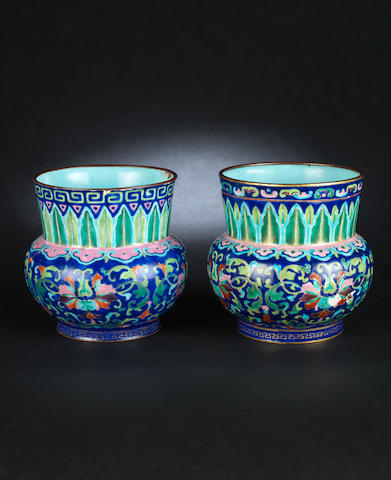A pair of Canton enamel spittoons, zhadou