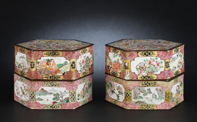 A pair of Canton enamel, hexagonal boxes and covers Qing Dynasty
