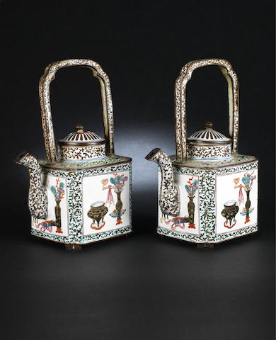 A pair of Canton enamel, square teapots and covers Qing Dynasty