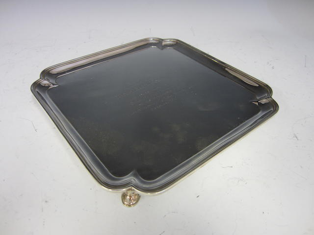 A silver square presentation salver  Sheffield 1919