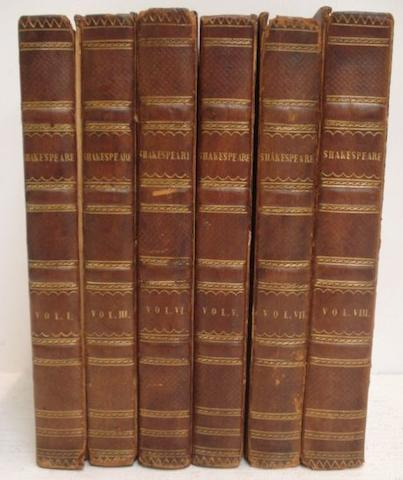 Bindings:  The Plays of William Shakespeare, Bindings: The Plays of William Shakespeare,5 volumes, 1809, from the correct edition of Isaac Reed, further bindings and other volumes.