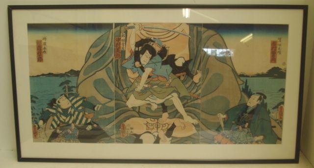 Kuniyoshi - Mid 19th Century, a triptych of samurai, Oban,35 x 74cm.