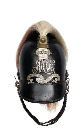 The Duke of Manchester's Huntingdonshire Mounted Rifle Volunteers, Trooper's Leather Helmet c1860-1861