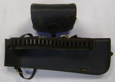 A group of leather shooting accessories (3)