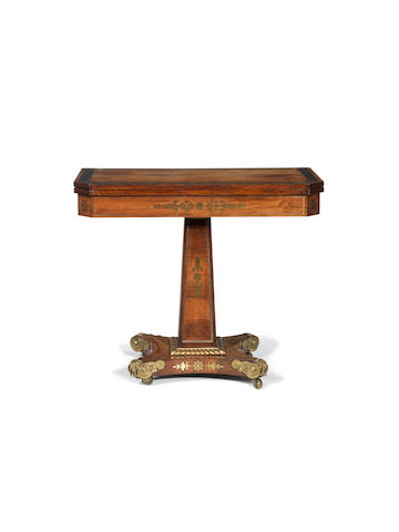A Regency rosewood, crossbanded and brass marquetry card table