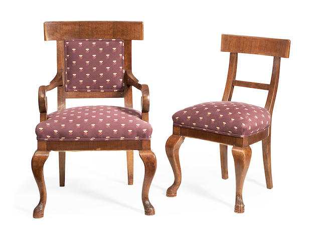 A set of ten early 20th century Austrian walnut dining chairs