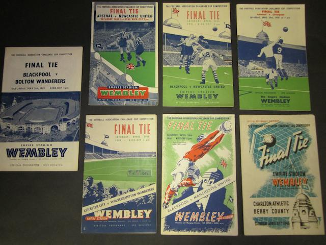 A collection of late 1940's/early 1950's F.A. Cup final football programmes