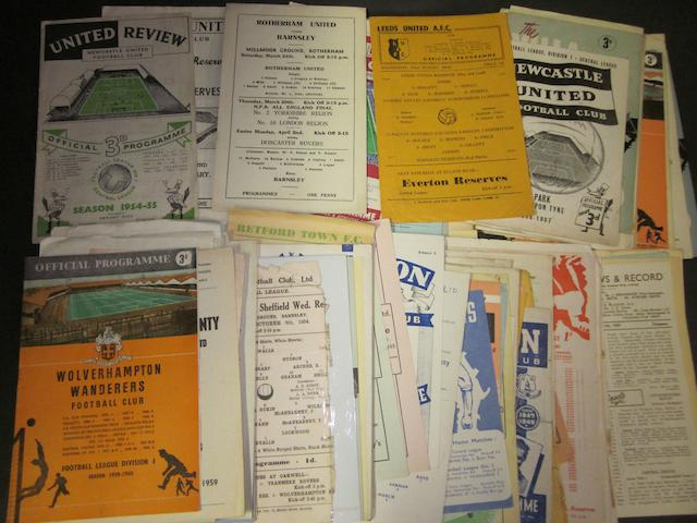 A collection of 1946 to 1959 Barnsley reserves football programmes