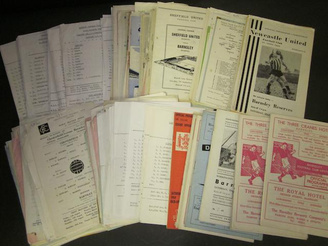 A collection of 1950s to 1970's Barnsley reserves football programmes