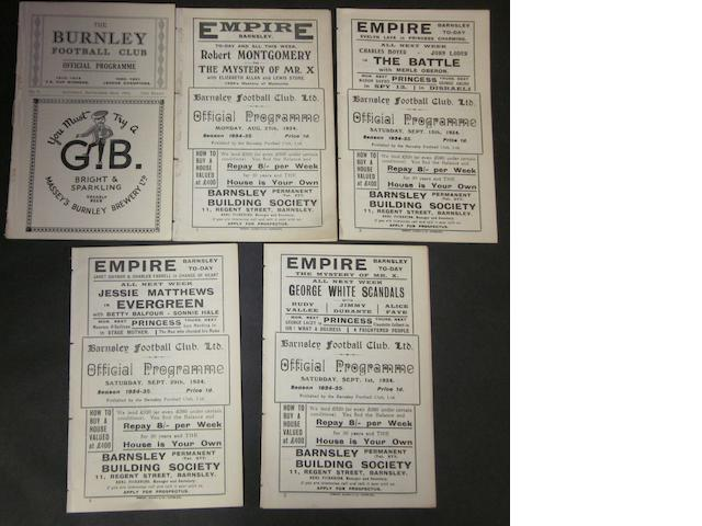 A collection of 1934/35 Barnsley home and away football programmes