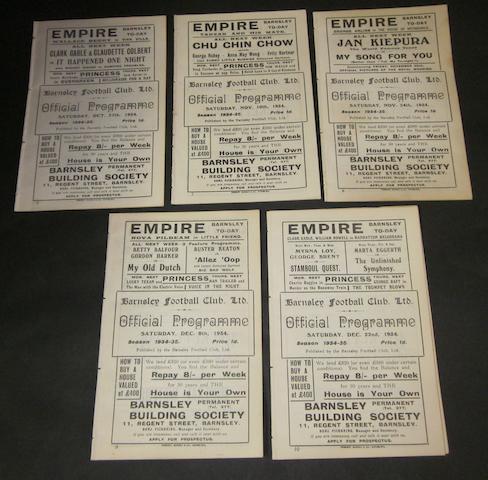 1934/35 Barnsley home programmes