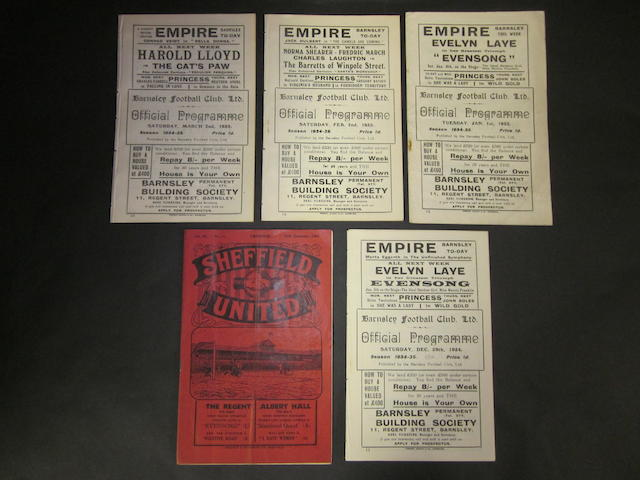 1934/35 Barnsley home and away programmes