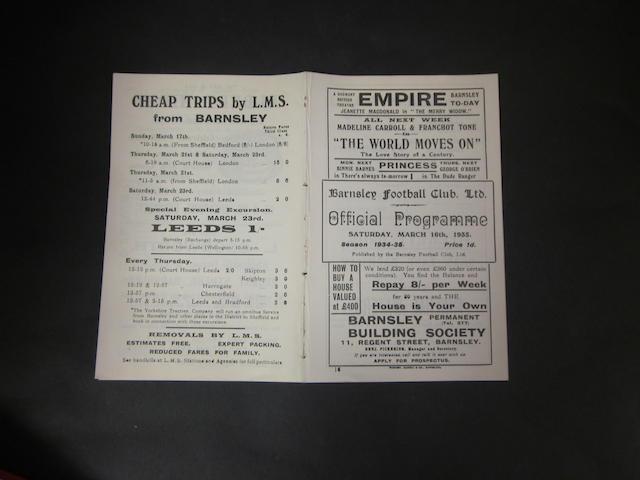 1934/35 Barnsley v Newcastle programme