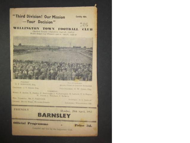1952 Wellington v Barnsley football programme