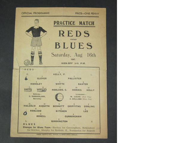 1947 practice match Reds v Blues Barnsley football programme