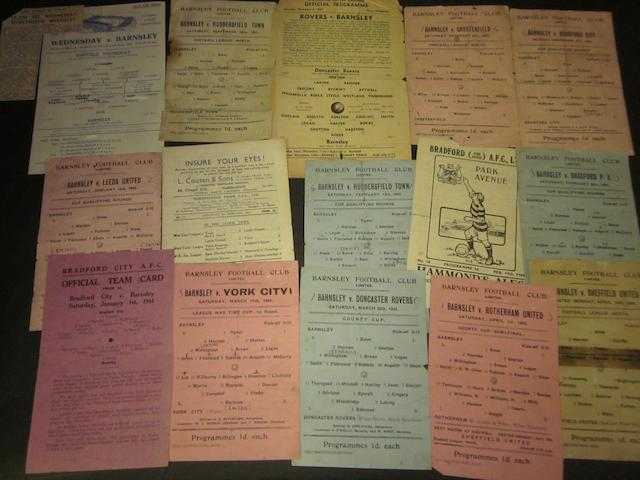 A collection of 1943/44 Barnsley home and away football programmes