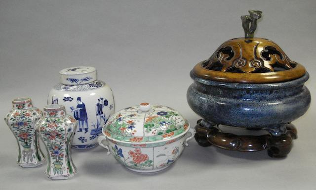 A Famille verte bowl and cover, pair of vases, blue and white jar with cover and large bowl with cover and stand
