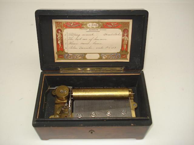 A small Mandoline musical box, by Troll & Baker circa 1885,