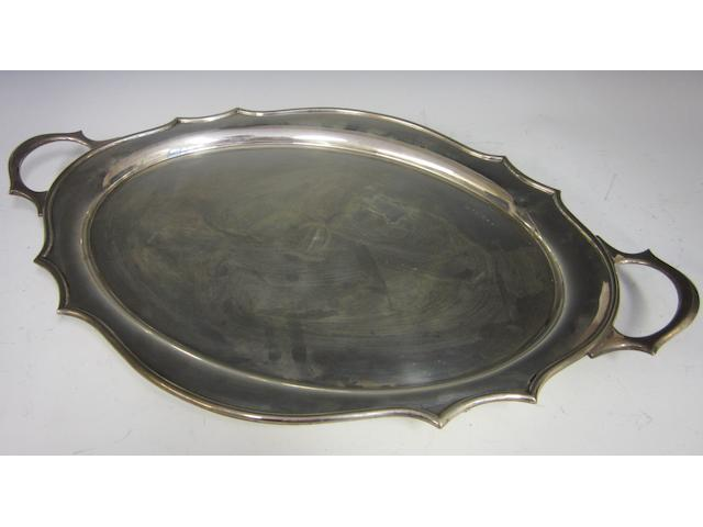 A silver oval two handled tray Birmingham 1927