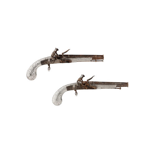 A pair of 32-bore Scottish all metal flintlock belt pistol, with highly unusual silver stock By J Pratt of Edinburgh, late 18th century