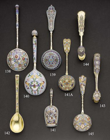 A late 19th century Russian silver and enamelled serving spoon maker's mark in Cyrillic, possibly H or И C,  Moscow