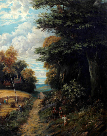 Circle of Walter Heath Williams (British, 1835-1906) Harvest landscape with figures on a path by woodland