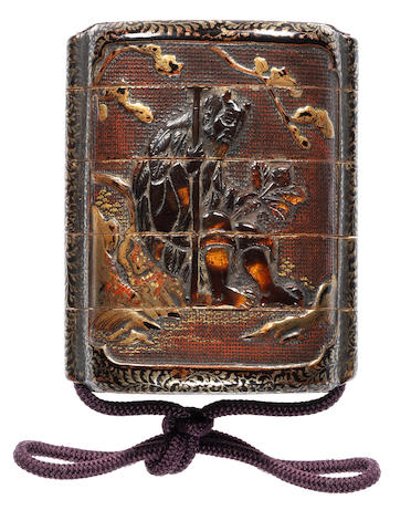 An unusual lacquer four-case inro 17th century