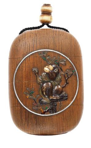 A wood three-case inro 19th century