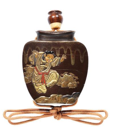 A lacquer three-case inro 19th century