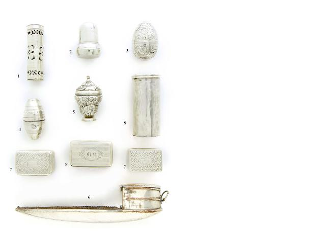 An 18th century silver cylindrical nutmeg grater apparently unmarked, circa 1800