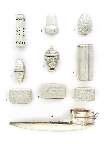 A George IV silver nutmeg grater by John Shaw, Birmingham 1820
