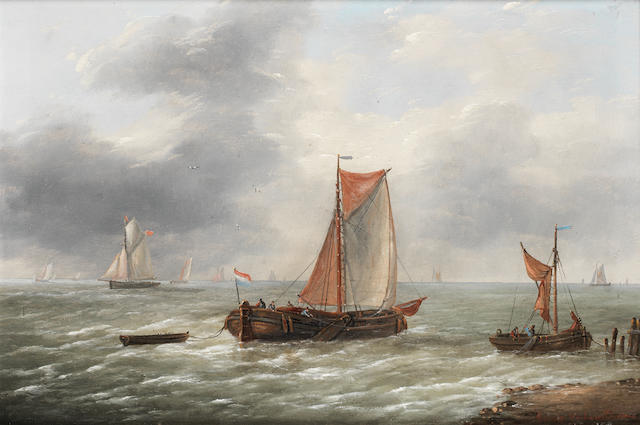 Louis Verboeckhoven (Belgian, 1802-1889) Fishing boats ????????????
