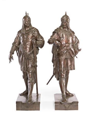 Emile Louis Picault, French (1833-1915) A pair of bronze figures of Saracens