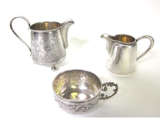 An early 20th century Russian silver cream jug by Morosov, St. Petersburg 1908-1926