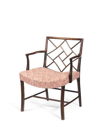 A George lll Scottish laburnum 'Cockpen' open armchair