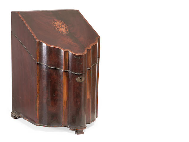 A George III mahogany knife box converted into a decanter box