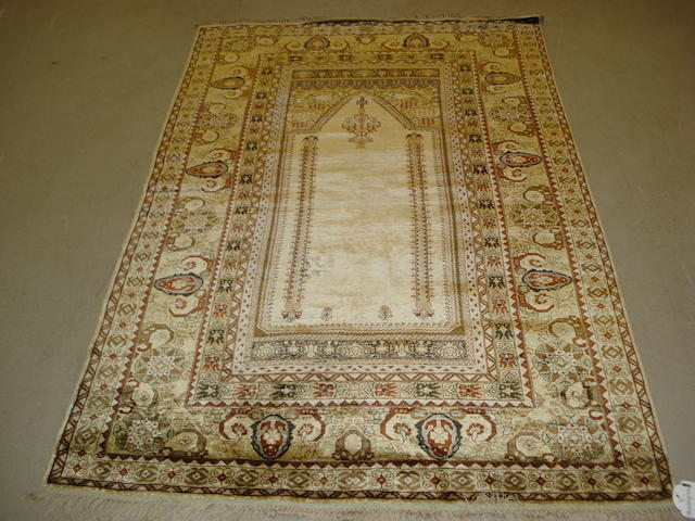 An Anatolian silk prayer rug, West Anatolia, 181cm x 118cm