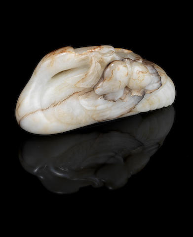 A mottled white jade carving of a stork 18th century