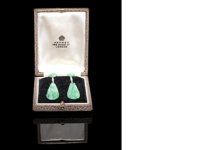 A pair of white-metal mounted, jadeite and diamond earrings